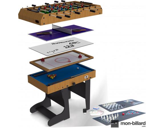 Table Multi Jeux Pliable Riley 4 en 1 (+ 8 jeux offerts)