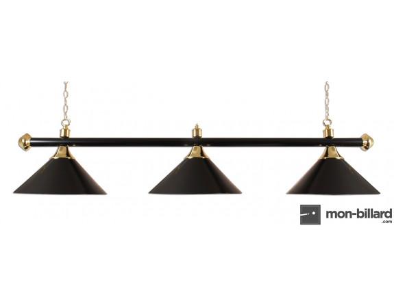 Luminaire Billard 3 Coupoles noires, 150 cm