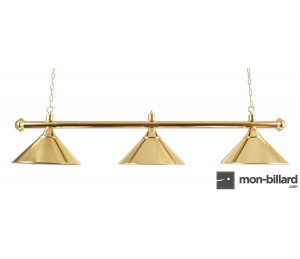 Luminaire Billard 3 Coupoles en laiton vernis, 150cm