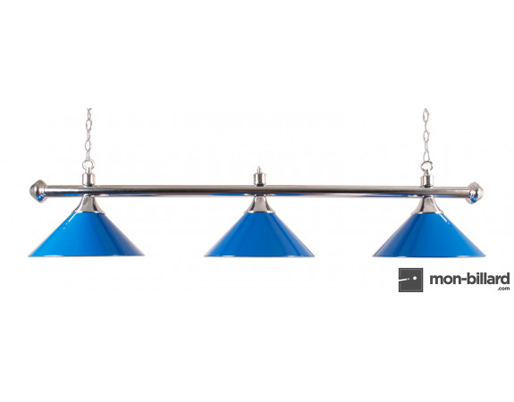 Luminaire Billard 3 Coupoles bleue, 150cm