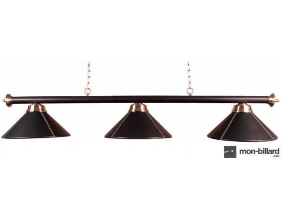 Luminaire Billard 3 Coupoles cuir noir 150cm