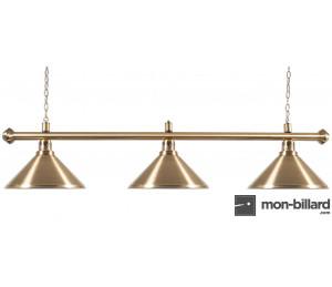 Luminaire Billard cuivre brossé 3 coupoles 150cm