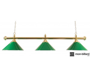 Luminaire billard 3 coupoles vert, 150 cm