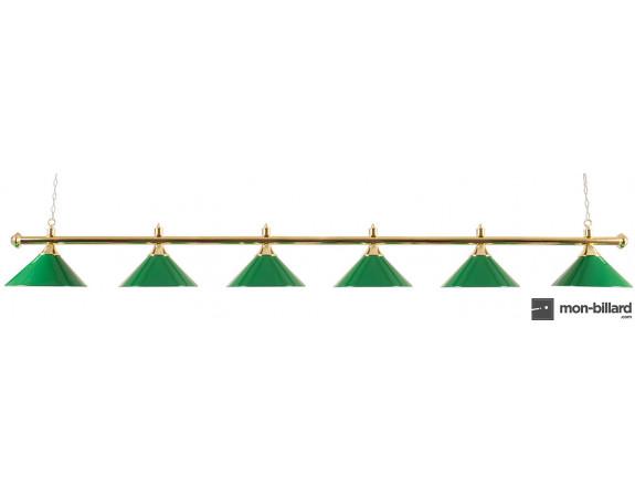 Luminaire billard en laiton, 6 coupoles vertes